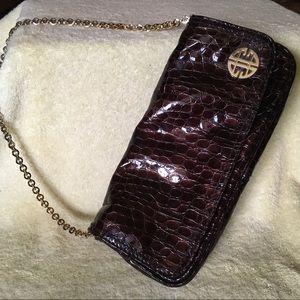 Antonio Melani Brown Faux Croc Clutch, gold chain